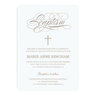 Invitación beige del bautizo de la invitación el |