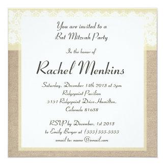 Invitación beige elegante de Mitzvah del palo del Invitación 13,3 Cm X 13,3cm