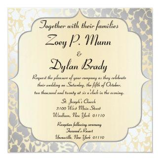 Invitación beige metálica elegante del boda