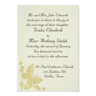 Invitación beige y amarilla del boda