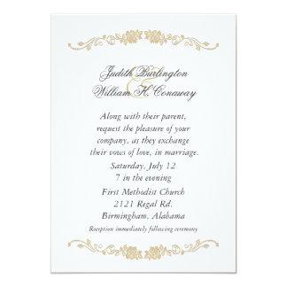 Invitación beige y blanca elegante del boda