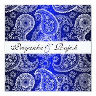 Invitación blanca azul del boda de Paisley del Invitación 13,3 Cm X 13,3cm