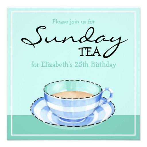 Invitación blanca azul del té del cumpleaños del v