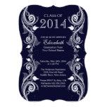 Invitación blanca azul elegante de la fiesta de gr