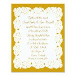 Invitación blanca de bronce del boda del tapetito
