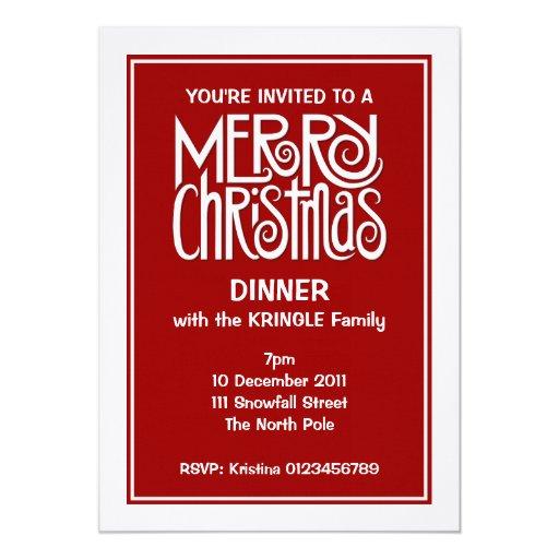 Invitación blanca de la cena de las Felices