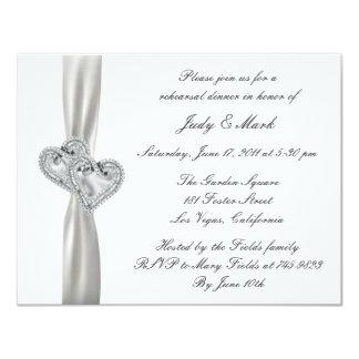 Invitación blanca de la cena del ensayo del boda invitación 10,8 x 13,9 cm