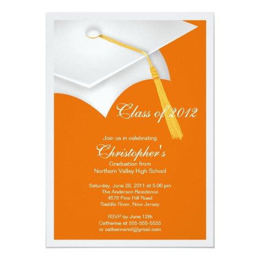 Invitación blanca de la fiesta de graduación del