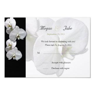 Invitación blanca de RSVP de la orquídea Invitación 8,9 X 12,7 Cm