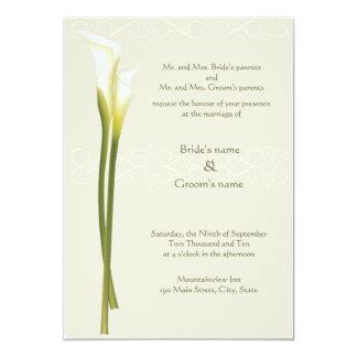 Invitación blanca del boda de la cala