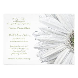 Invitación blanca del boda de la margarita del Ger