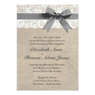 Invitación blanca del boda de la mirada del cordón
