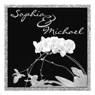 Invitación blanca del BODA de la orquídea