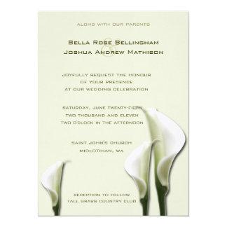 Invitación blanca del boda de las calas