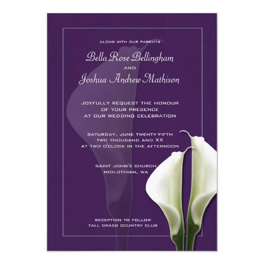 Invitación blanca del boda de Lillies de la cala