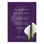 Invitación blanca del boda de Lillies de la cala e