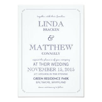 Invitación blanca del boda de los azules marinos