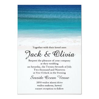 Invitación blanca del boda de playa del océano de