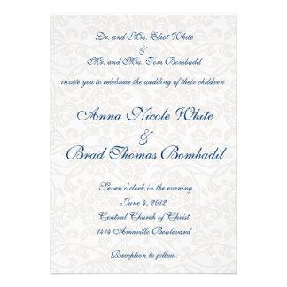 Invitación blanca del boda del damasco
