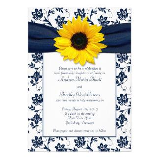 Invitación blanca del boda del girasol del damasco