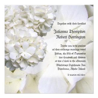 Invitación blanca del boda del Hydrangea cuadrado
