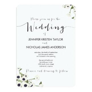 Invitación blanca del boda del vintage de la flor
