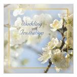 Invitación blanca del cuadrado del flor