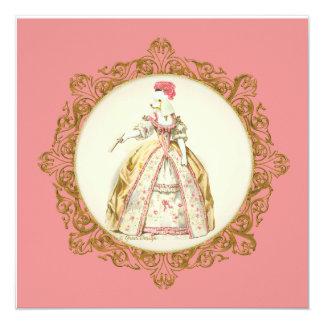 Invitación blanca del estilo de Marie Antonieta
