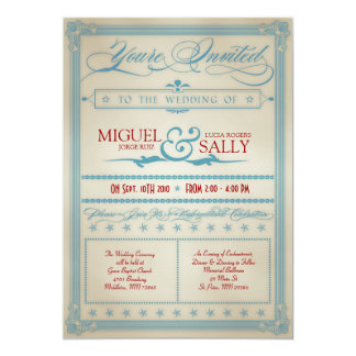 Invitación blanca del vintage y azul roja del boda