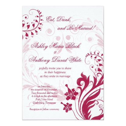 Invitación blanca del vintage y roja floral del