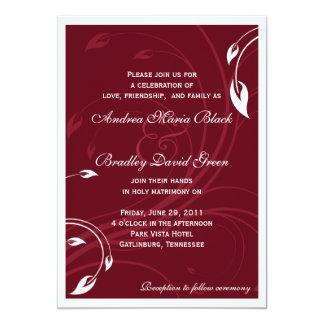 Invitación blanca elegante del boda de Borgoña Invitación 12,7 X 17,8 Cm