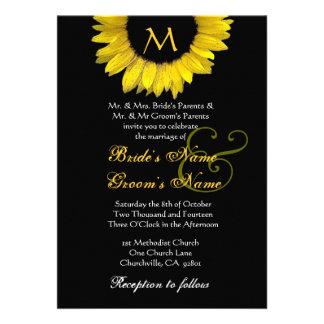 Invitación blanca negra amarilla del boda del gira