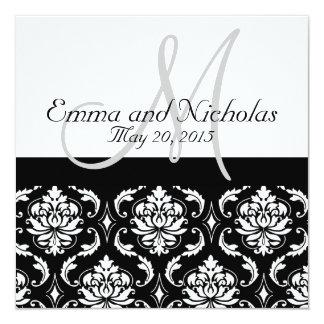 Invitación blanca negra del boda del damasco