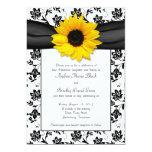 Invitación blanca negra del boda del girasol del