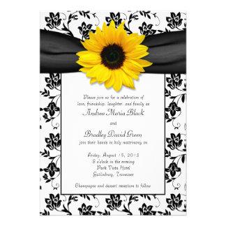 Invitación blanca negra del boda del girasol del d