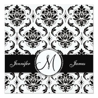 Invitación blanca negra del boda del monograma del