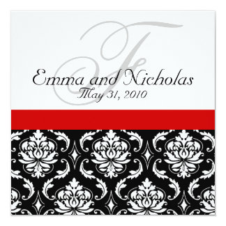 Invitación blanca negra roja del boda del damasco