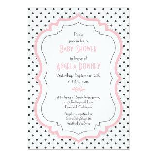 Invitación blanca negra rosada de la fiesta de