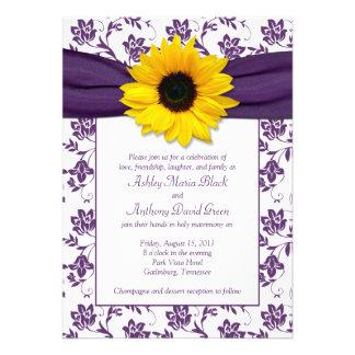 Invitación blanca púrpura del boda del girasol del