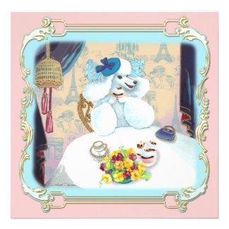 Invitación blanca retra de la fiesta del té de la