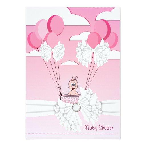Invitación blanca rosada de la ducha de la niña de