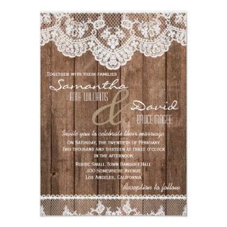 Invitación blanca rústica del boda del cordón y de