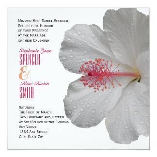 Invitación blanca tropical del boda del hibisco