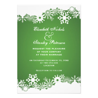 Invitación blanca verde del boda del invierno del