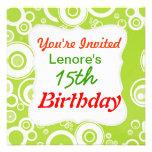 Invitación blanca verde del cumpleaños