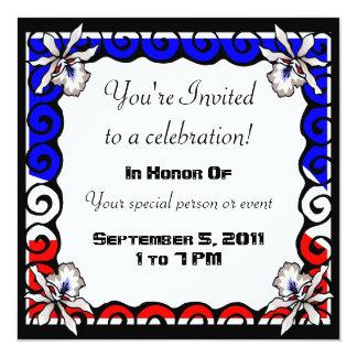 Invitación blanca y azul roja