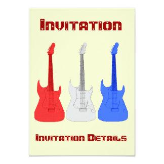Invitación blanca y azul roja de las guitarras