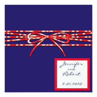 Invitación blanca y azul roja del boda