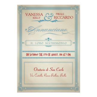Invitación blanca y azul roja italiana del boda