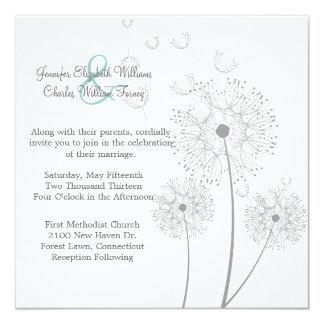 Invitación blanca y gris del boda del diente de